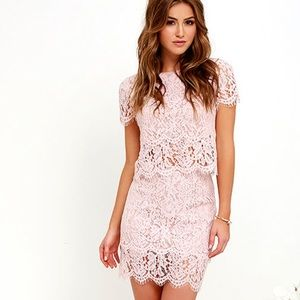 Blush Pink Lace Two-Piece Dress Size XS